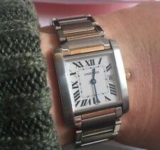 womens Cartier Tank Francaise mid-size 18K gold/steel watch