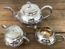 Chinese Export Solid Silver Three Piece Tea Set