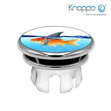 KNOPPO® Waschbecken Überlaufblende / Abdeckung - Mirror Haifisch Motiv (chrom)