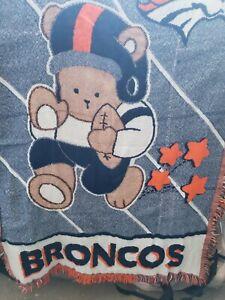 Broncos Woven Baby Blanket NFL Football Fringe Edges 42 X 33 Inches Northwest Co