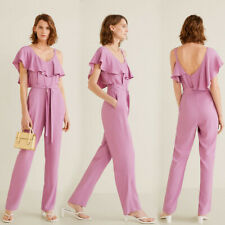 MANGO Purple Ruffled Asymmetrical Jumpsuit Size Small