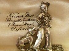 Antico ART DECO anni 1930 tedesco 835 Argento & Marcasite Spilla Cina Uomo Cane &