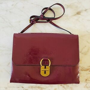 TORY BURCH Solid Maroon Burgundy Patent Leather Shoulder Bag