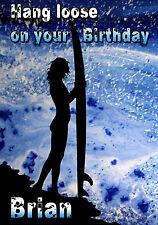 Surf Surf Surfista Paisaje Mar tarjeta de arte de felicitación personalizada Feliz Cumpleaños