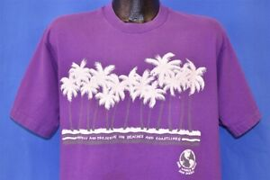 vtg 80s ONE WORLD FAMILY SAN DIEGO PROTECT PRESERVE BEACHES PALM TREES t-shirt L