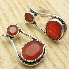 Free Shipping on Additional Items! Silver Plated Carnelian GORGEOUS Earrings ART
