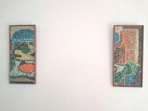 VINTAGE 1960'S MOSAIC PEBBLE ART WALL DECOR HANGING ABSTRACT MODERN