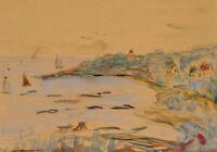 Küste mit Segelbooten, 19. Jhd., Aquarell, Buntstift