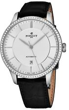 Perrelet Men's First Class Black Leather Strap Diamond Automatic Watch A1076/1