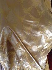 "Vtg Retro Mid Century Satin Pale Gold Yellow Door Curtain Swags 45"" W 97"" L"