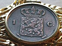 """1862 Netherlands Royal Lion Bronze Cent Pendant on a 24"""" 18kgf Gold Filled Chain"""