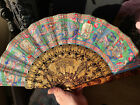 large super quality early 19th century Chinese carved wood canton fan with box