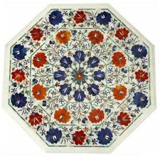 2' Blue Lapis Coffee Marble Table Top Handcrafted Pietradura Inlay Floral Art