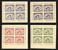 1935 Brooklyn & L.I. Stamp Expo Cinderella Blocks of 4