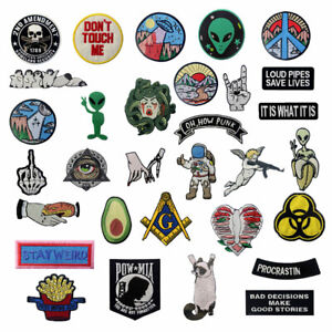 Embroidered Patches Badge appliques transfers Iron Sew On patch for clothes Lots