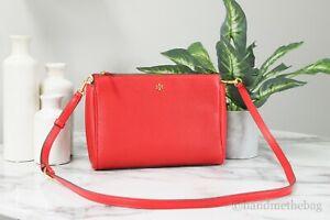 Tory Burch 74101 Blake Medium Brilliant Red Leather Crossbody Handbag Clutch Bag