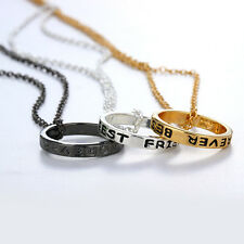 3pcs Best Friend Forever BFF Engraved Circle Ring Pendant Friendship Necklace-UK