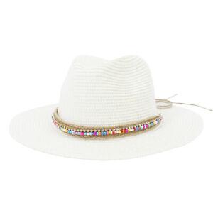 White Panama Hat Womens Sun Straw Beach Fedora Summer Hat Wide Brim Sombreros
