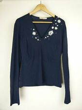 BLUMARINE ITALY Top/blouse Sz 46, 12 Navy blue w/silver sequins
