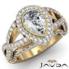 Halo Pave Set Pear Cut Diamond Engagement Ring GIA I VS2 18k Yellow Gold 2.86ct