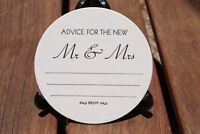 Advice for the New Mr & Mrs  WEDDING COASTERS,  in black X 100 Round