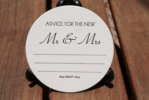 Advice for the New Mr & Mrs  WEDDING COASTERS,  X 100 Round