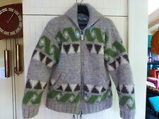 Laundromat Nepal 100% Wool Zipper Sweater Pockets Lining Size M-L Cowichan Style