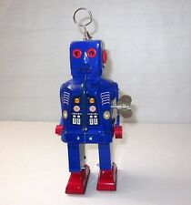 VINTAGE TIN WIND UP NAVY BLUE SPACE ROBOT MS 403 CHINA
