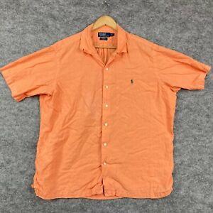 Ralph Lauren Mens Button Up Shirt Size XL Orange Short Sleeve Collared 42.04