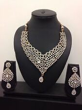 New Latest Indian Bollywood Jewellery Necklace Earring set Party Wedding Bridal