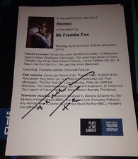 Freddie Fox Signed Romeo And Juliet New Theatre Flyer Very Rare!