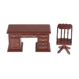 1:12 Dolls House Miniatures Writting Desk Chair Furnishings Decor Accessory