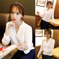 FT Women's Ladies Long Sleeve Loose Blouse Autumn V Neck Casual Shirt Tops、Fad