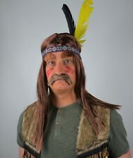 Indian Fancy Dress Accessories, Brown Wig, Feather headband, Moustache, Arrow.