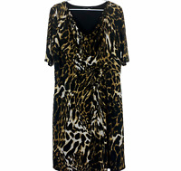Chrissie Avella Womens Black/Yellow Short Sleeve Lined Maxi Dress Plus Size 18