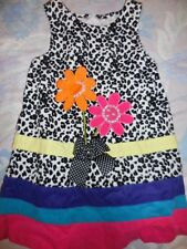 euc Bonnie Jean leopard cord flower applique jumper dress girl 3T free ship USA