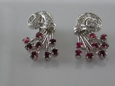 Diamond, ruby and 14kt white gold earrings