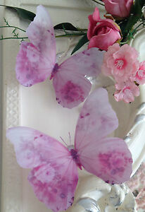 """Pink Butterfly Decorations Gifts Decals 5"""" 4 Shabby Chic Rose 3D Butterflies"""
