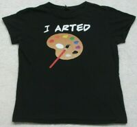 I Arted Black Tee T-Shirt Top Short Sleeve Size Medium Womans Cotton Painting