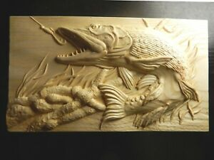 Wood carved picture wall plaque.  Pike fish catching bait. Perfect  gift