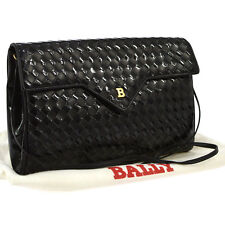 Auth BALLY Cross Body Shoulder Bag Black Leather Patent Leather Vintage AK13062