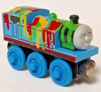 Authentic Thomas & Friends Wooden Railway Train - Paint Splattered Rare HTF