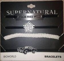 NEW! Supernatural Team Free Will 4Pk Piece Cord Bracelet Set Symbol Car Impala