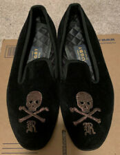 $595 Rugby Ralph Lauren 10 D Velvet Rare Slippers Ankle Skull Dress Loafer Shoes