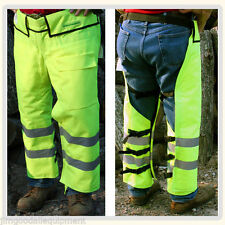 Chain Saw Safety Chaps,Safety Green Wrap Design,Adjustable Length,OSHA Approved