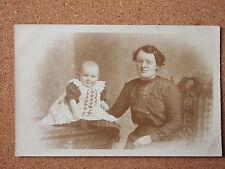 R&L Postcard: Vintage Photo of Edwardian Lady & Baby, Dress/Clothes/Fashion