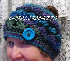 Crochet Messy Bun Hat Women Pony Tail Beanie Mom Handmade