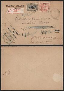 Belgian Congo 1926 - Registered Cover Elisabethville to Brussels Belgium D407