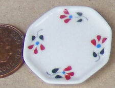 1:12 Scale Red Floral Plate Doll House Miniature Ceramic Kitchen Accessory CRR15