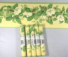 Wallpaper Border GRAMERCY Green Yellow Floral White Bloom Berries Vine Lot of 5
